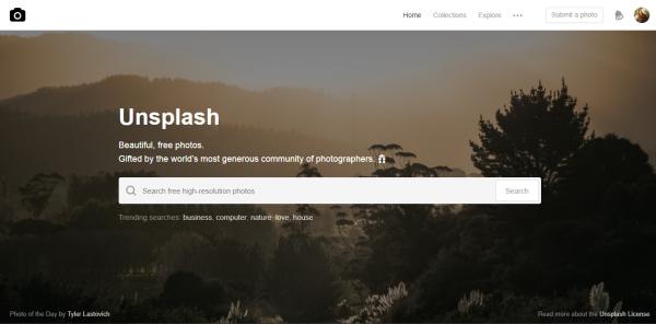 Content creation tool Unsplash