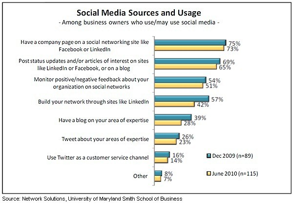 Social Media and Small Business Statistics 2010 - Sources of Social Media and Usage