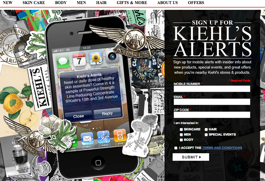 Kiehl's SMS subscription form