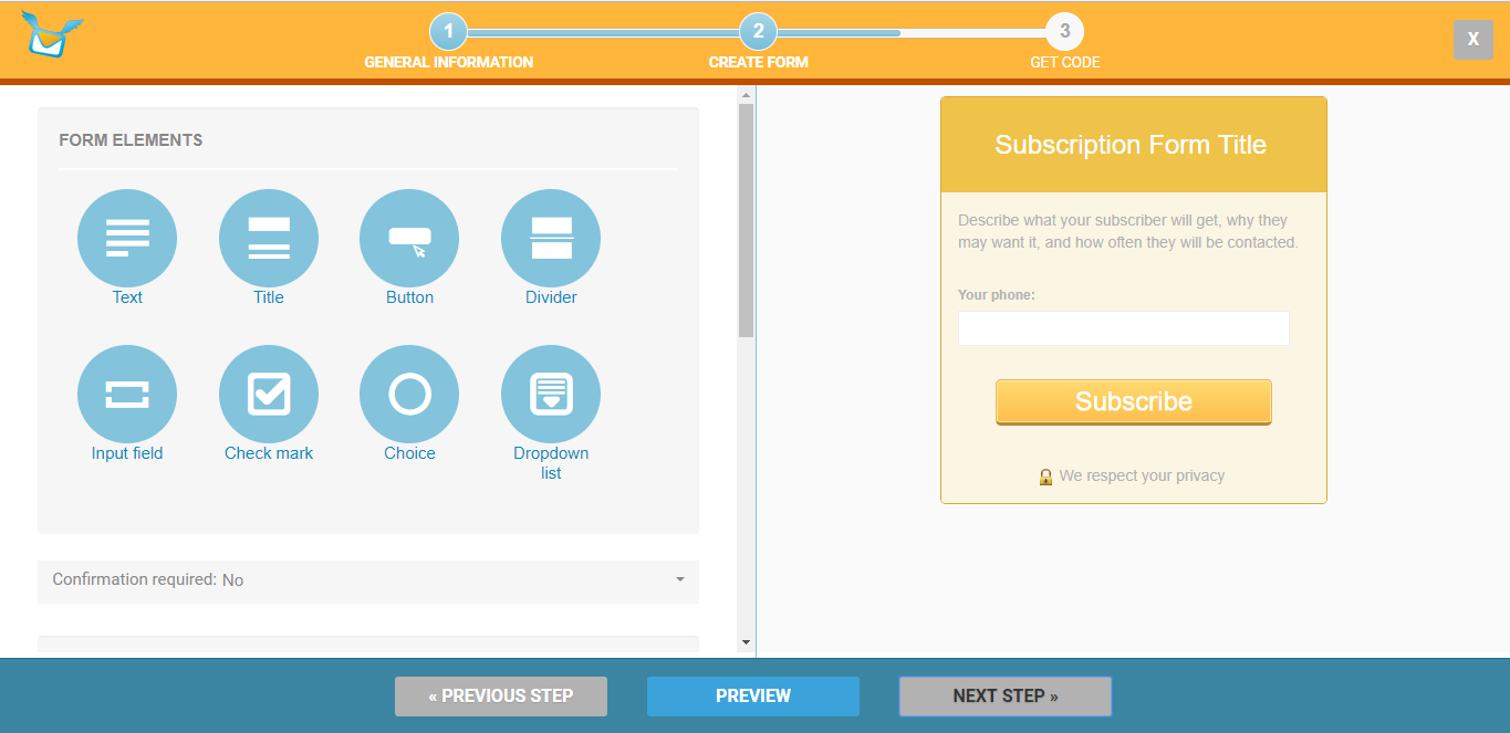 subscription form with a phone input field