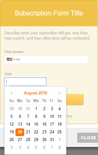 subscription form with date field