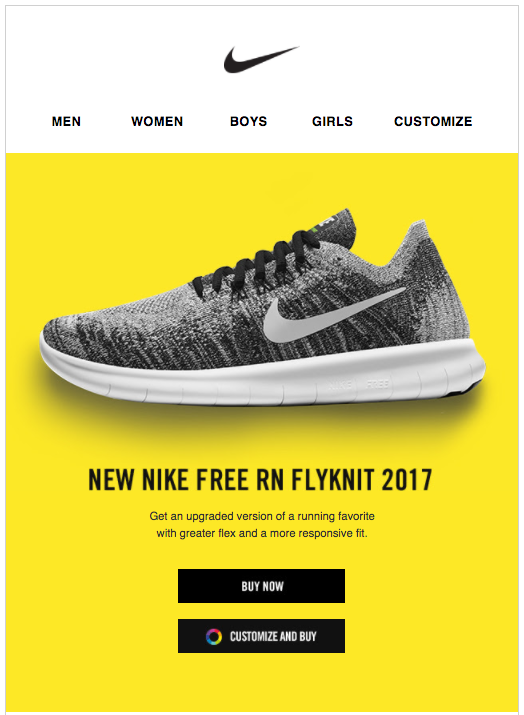 Email promotional Nike