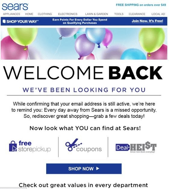 Win back email