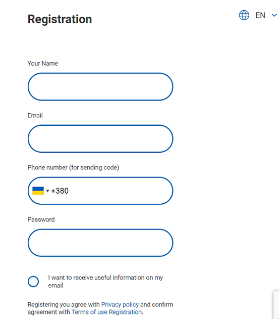 Register in SMS Service